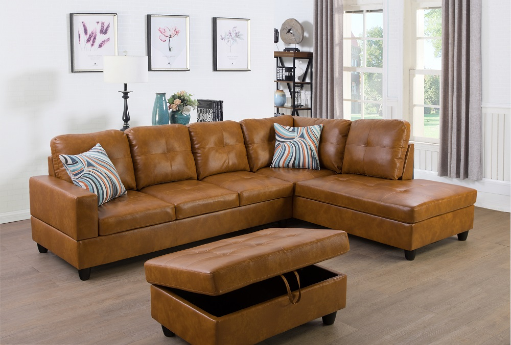 Ponliving Furniture Left Facing 3Pc Sectional Sofa Set Inside 3Pc Polyfiber Sectional Sofas (View 6 of 15)