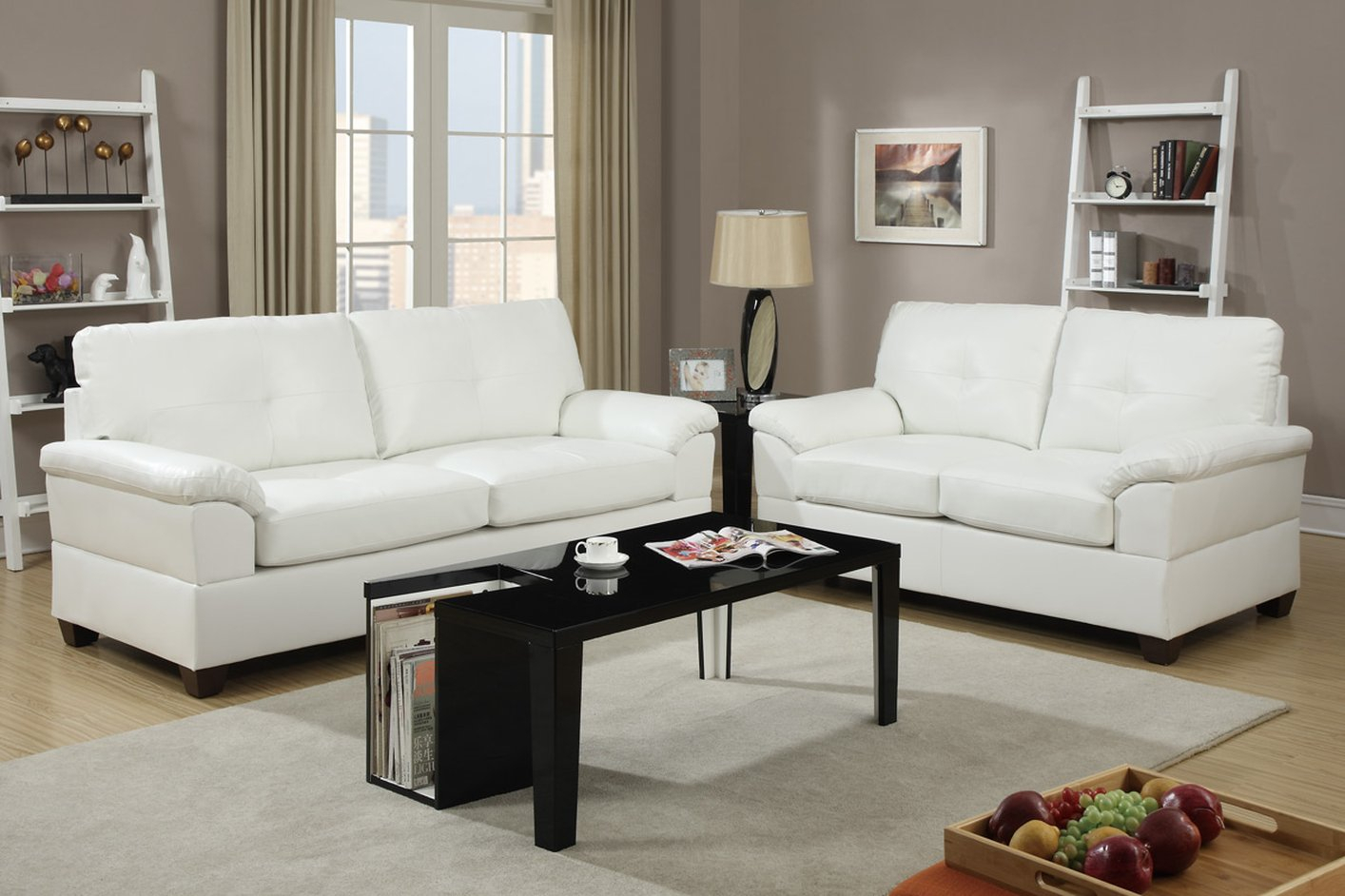 Poundex Elimination F7582 White Leather Sofa And Loveseat With White Sofa Chairs (View 6 of 15)