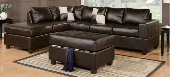 Poundex F7351 3 Pc Ivy Bronx Tamra Espresso Faux Leather Regarding 3Pc Bonded Leather Upholstered Wooden Sectional Sofas Brown (View 14 of 15)