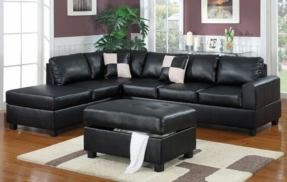 Poundex F7355 3 Pc Latitude Run Lyke Black Faux Leather In Copenhagen Reversible Small Space Sectional Sofas With Storage (View 8 of 15)