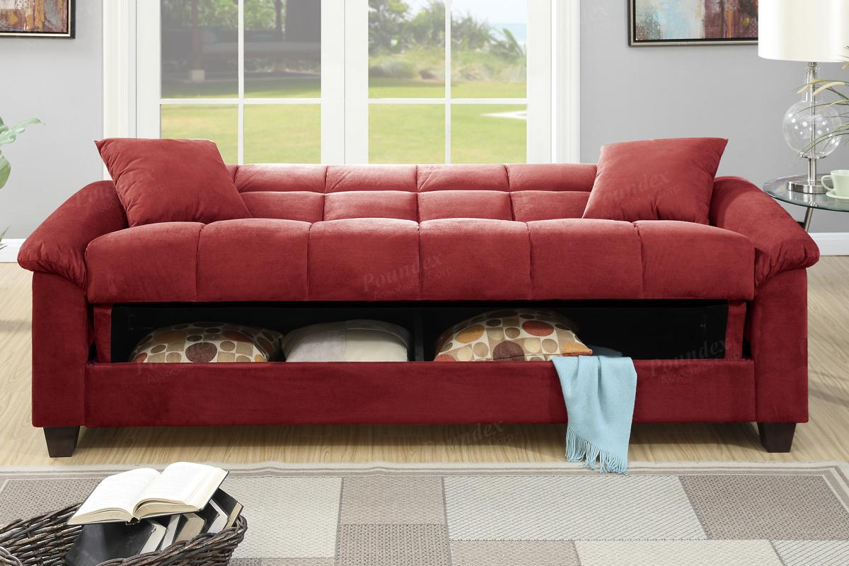 Poundex Gertrude F7890 Red Fabric Sofa Bed – Steal A Sofa Throughout Red Sofas (View 3 of 15)