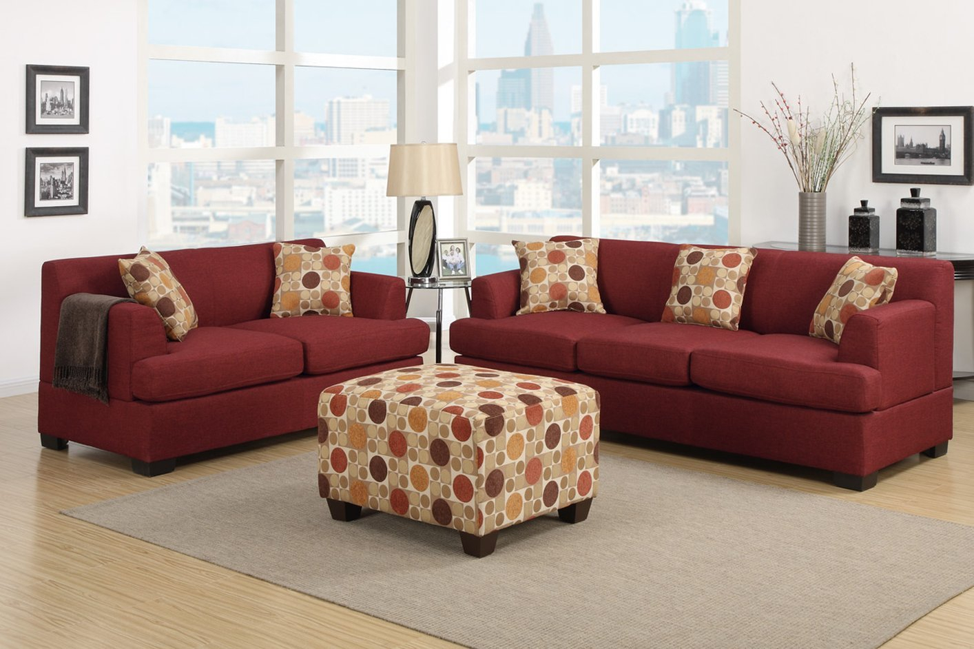 Poundex Montreal Iv F7963 Red Fabric Sofa – Steal A Sofa In Red Sofas (View 13 of 15)