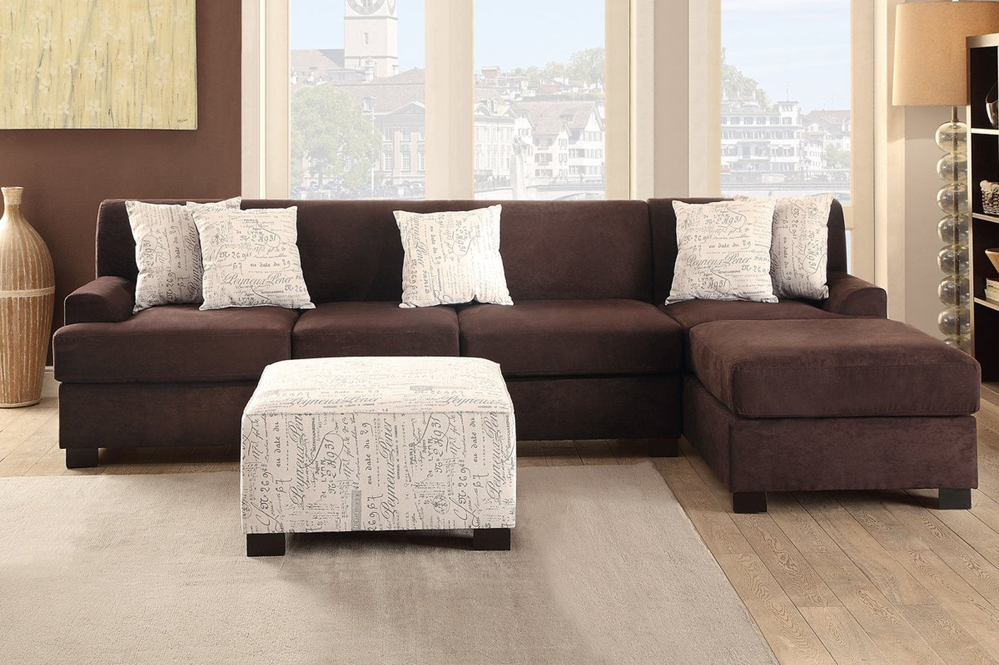 Poundex Nia F7981 Brown Fabric Sofa – Steal A Sofa Intended For Brown Sofa Chairs (View 14 of 15)