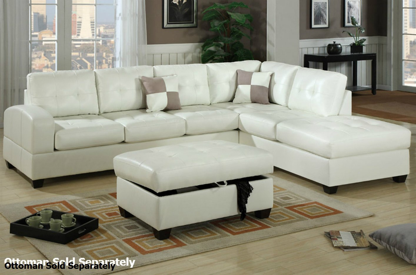 Poundex Reese F7359 White Leather Sectional Sofa – Steal A Within Sectional Sofas In White (View 5 of 15)
