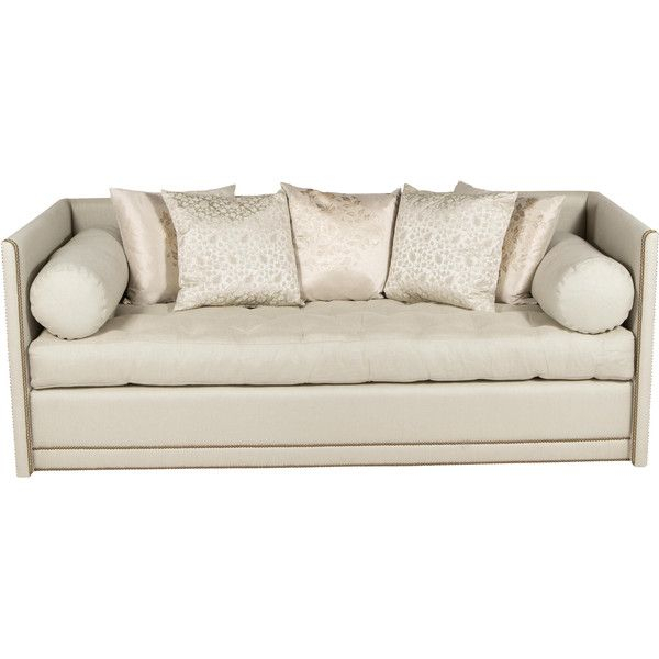 Pre Owned Tufted Sofa With Nailhead Trim ($2,995) Liked On With Radcliff Nailhead Trim Sectional Sofas Gray (View 2 of 15)
