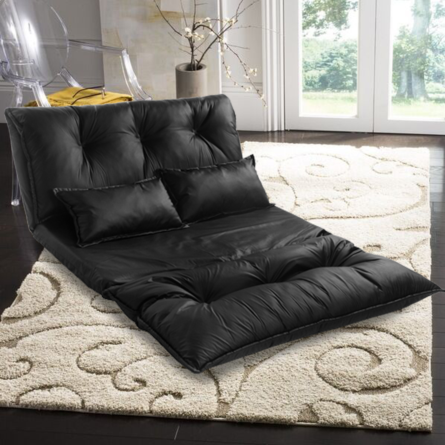 Pu Leather Sofa Bed For Bedroom, Futon Sofa Beds With 2 In Sofa Chairs For Bedroom (View 2 of 15)