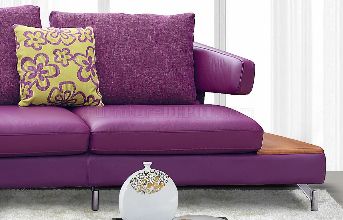 Purple Genuine Italian Leather Modern Sectional Sofa W/Shelves With Regard To Sectional Sofas (View 2 of 15)
