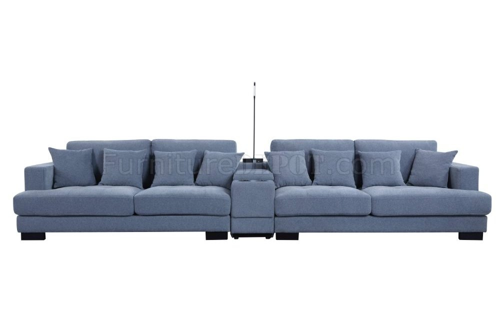 Qiana Sectional Sofa 55235 In Dusty Blue Fabricacme Throughout Brayson Chaise Sectional Sofas Dusty Blue (View 3 of 15)