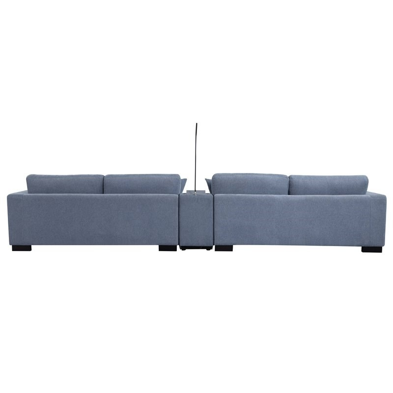 Qiana Sectional Sofa With Pillows In Dusty Blue Fabric – 55235 For Brayson Chaise Sectional Sofas Dusty Blue (View 9 of 15)