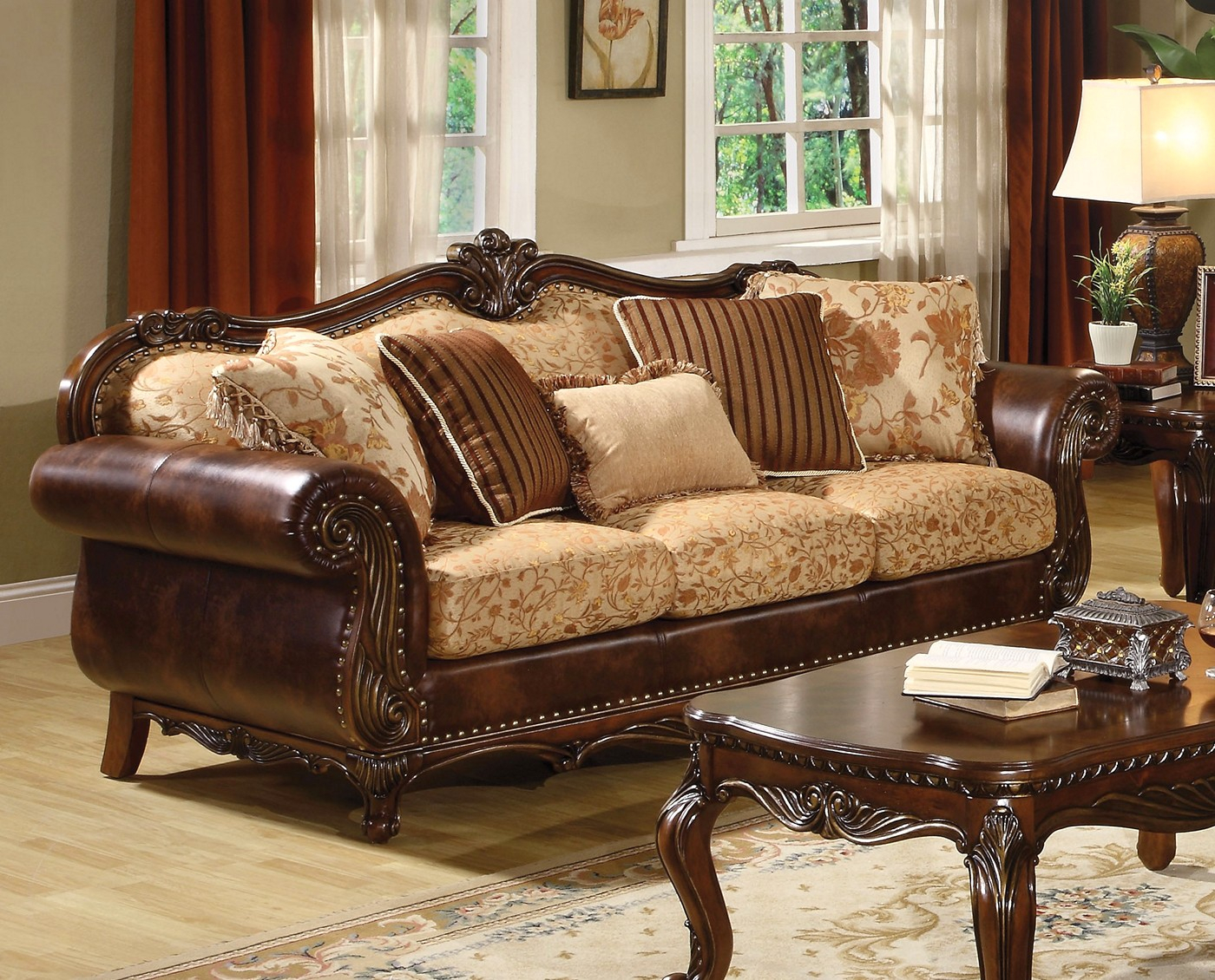 Radbourne Traditional Brown & Floral Fabric Sofa In Cherry Regarding Floral Sofas And Chairs (View 11 of 15)