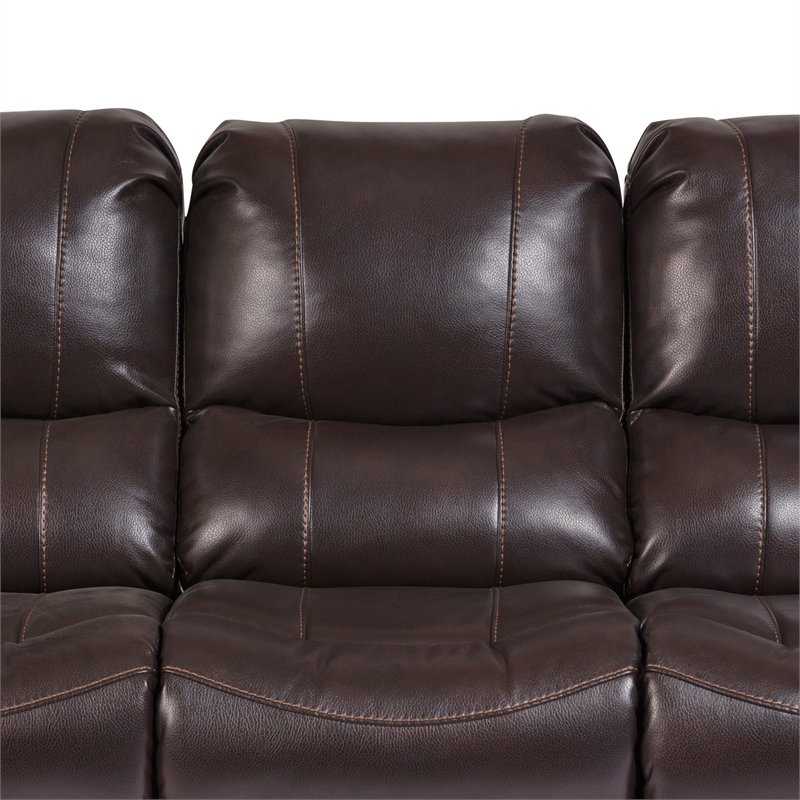 Ramsey Transitional Triple Power Recliner Sofa – Brown Inside Charleston Triple Power Reclining Sofas (View 12 of 15)