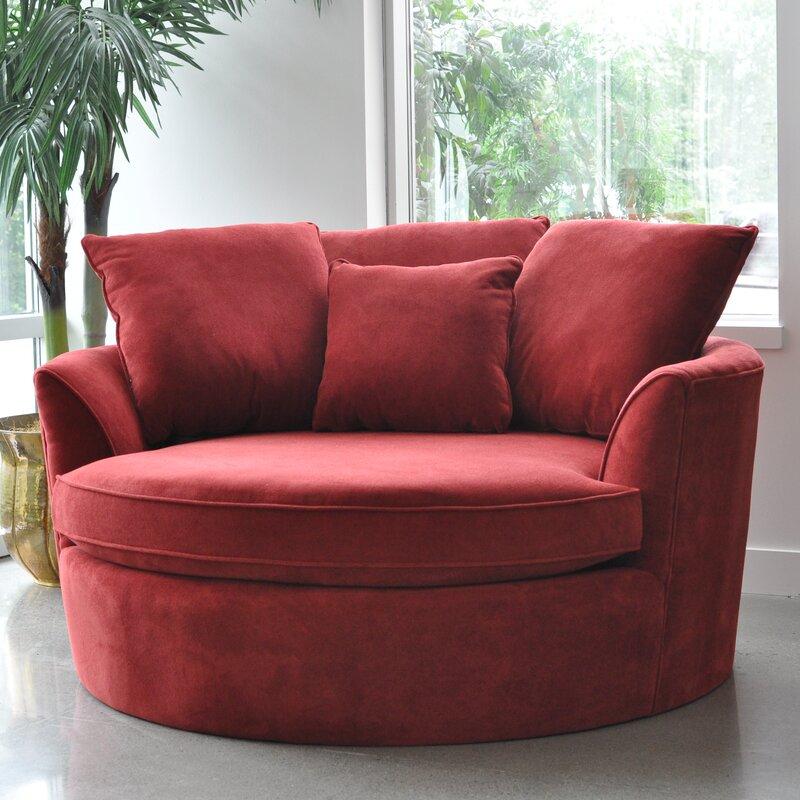 Red Barrel Studio Roquefort Cuddler Barrel Chair & Reviews Inside Cuddler Swivel Sofa Chairs (View 11 of 15)