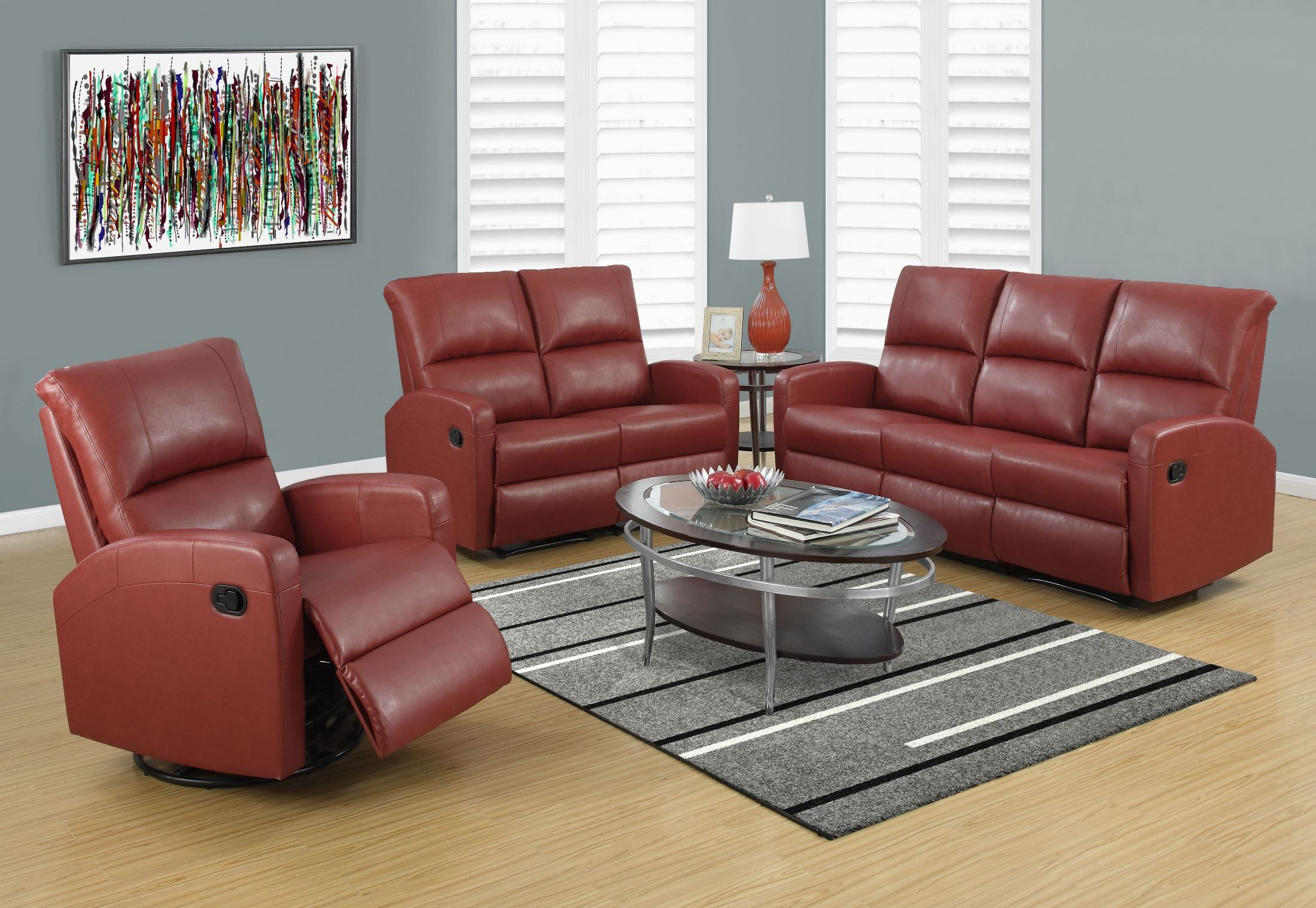 Red Bonded Leather Reclining Sofa From Monarch   Coleman Throughout Bonded Leather All In One Sectional Sofas With Ottoman And 2 Pillows Brown (View 9 of 15)
