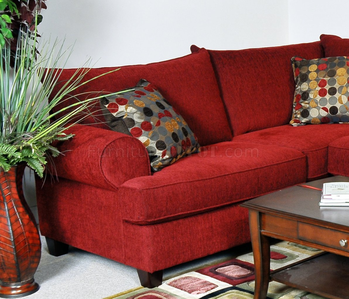 Red Fabric Contemporary Sectional Sofa W/Rolled Arms For Red Sofas (View 1 of 15)
