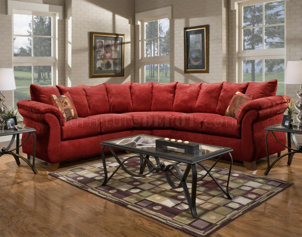 Red Fabric Modern 2Pc Sectional Sofa W/Wooden Legs Throughout Red Sofas (View 9 of 15)