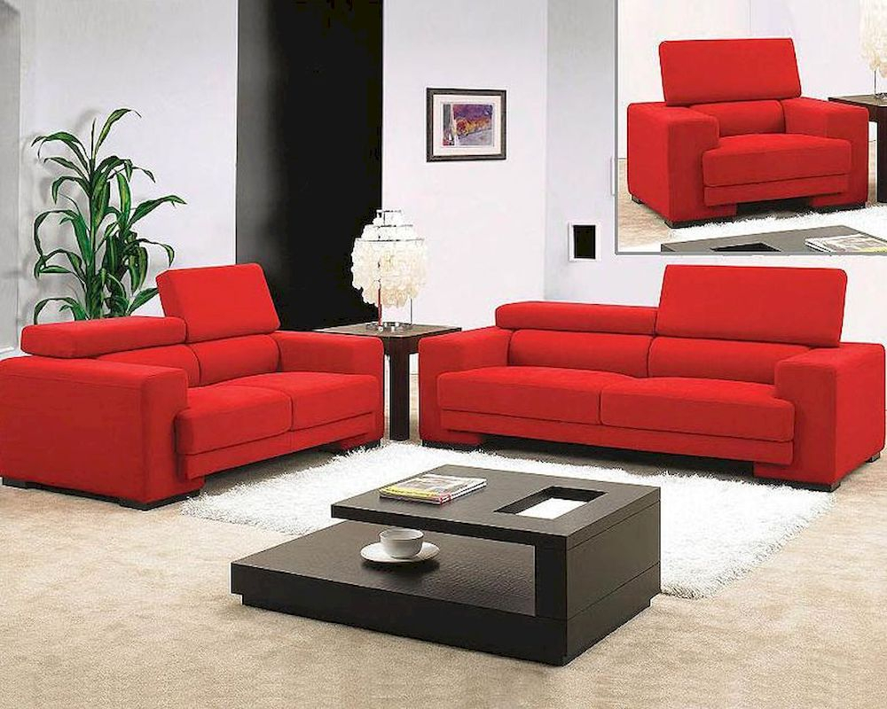 Red Fabric Sofa Set 44L0909 For Red Sofas (View 5 of 15)