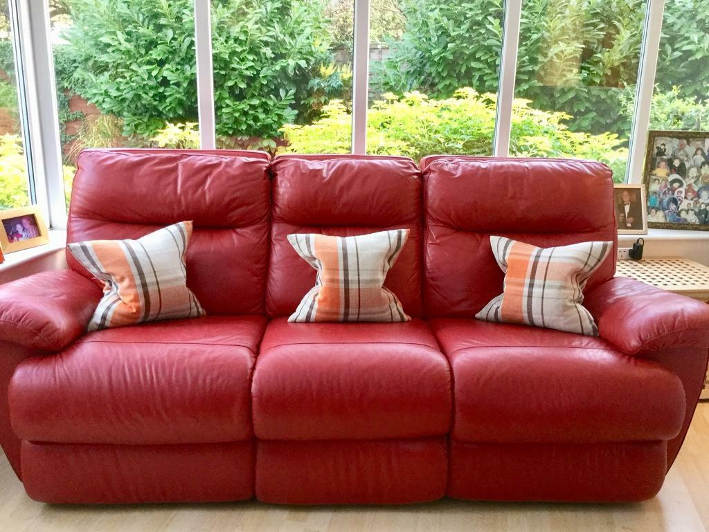 Red Leather 3 Seater Electric Reclining Sofa   In Watford Within Red Sofa Chairs (View 3 of 15)