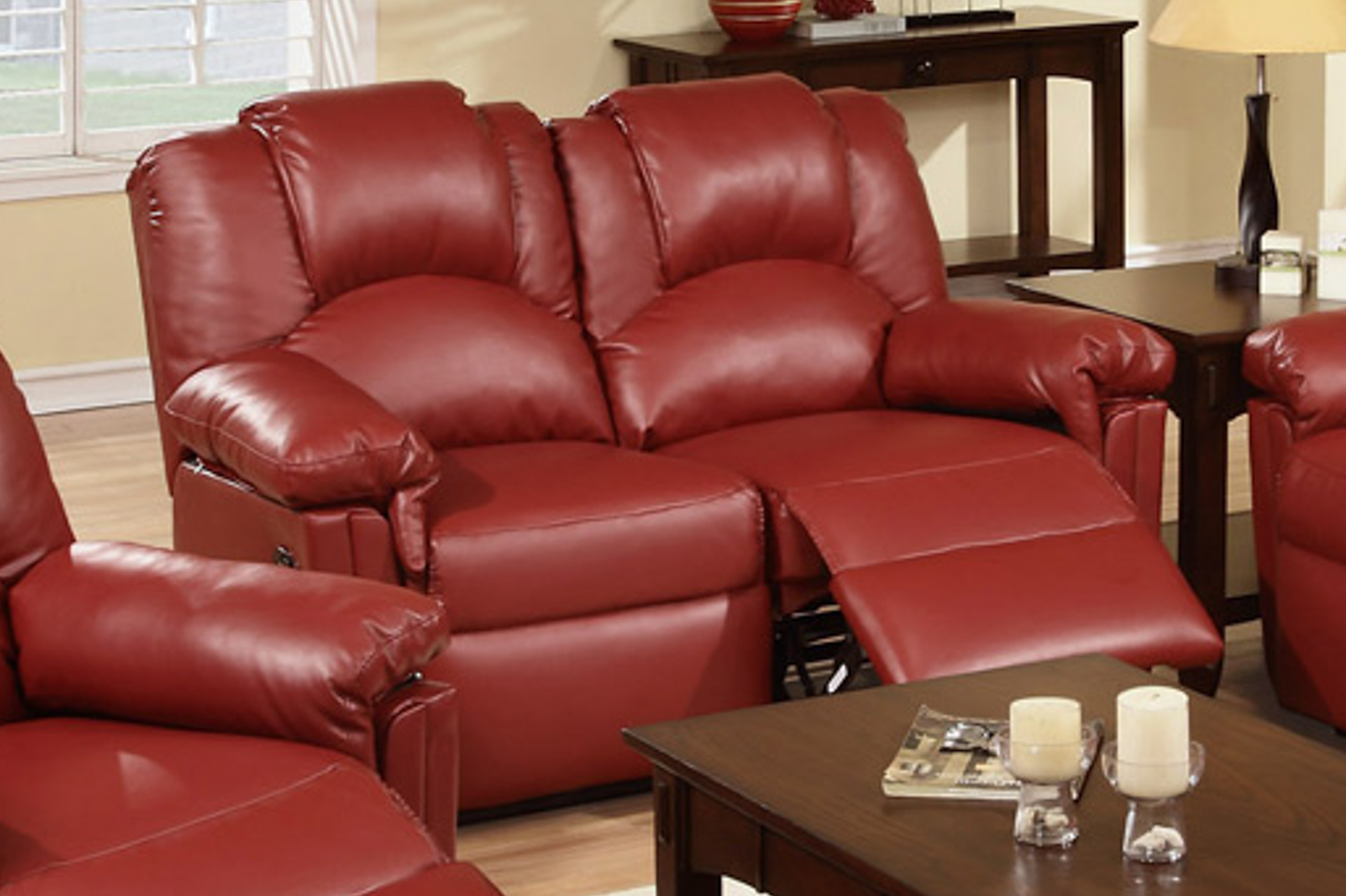 Red Leather Reclining Loveseat – Steal A Sofa Furniture Throughout Red Sofa Chairs (View 10 of 15)