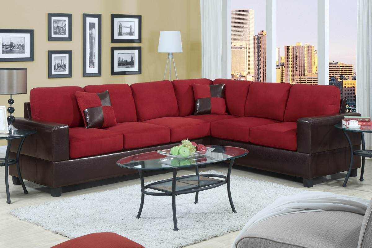 Red Microfiber Sectional Sofa F7638 Lowest Price – Sofa Pertaining To Red Sofa Chairs (View 12 of 15)