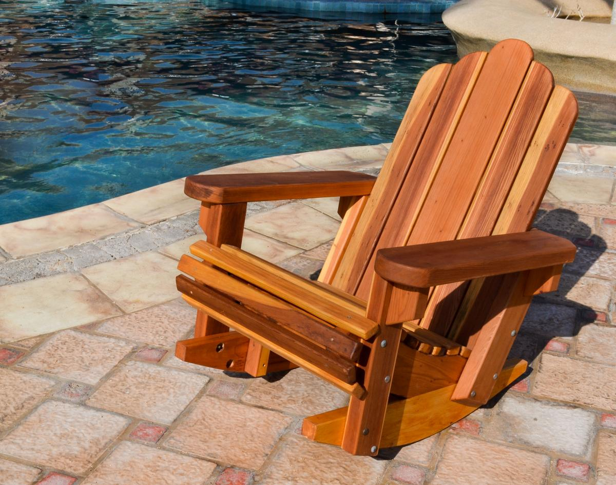 Redwood Adirondack Rocking Chair, Durable Wooden Rocker Throughout Rocking Sofa Chairs (View 12 of 15)