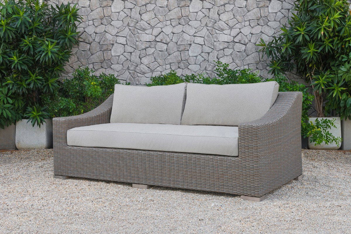 Renava Palisades Outdoor Beige Wicker Sofa Set – Outdoor Inside Outdoor Sofas And Chairs (View 9 of 15)