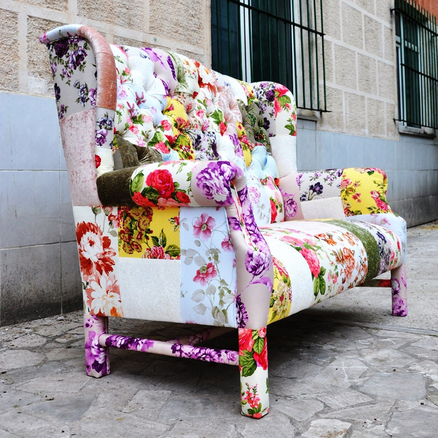 Reserved Listing For Kimberly Floral Wing Back Patchwork Sofa With Regard To Floral Sofas And Chairs (View 4 of 15)