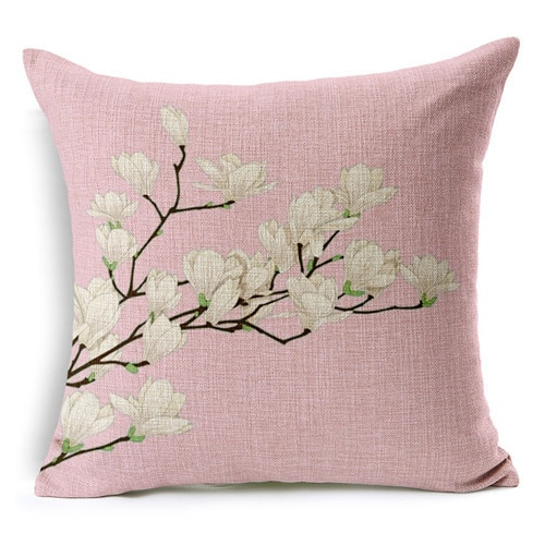 Retro Fresh Hand Painted Magnolia Linen Cotton Cushion For Magnolia Sectional Sofas With Pillows (View 5 of 15)