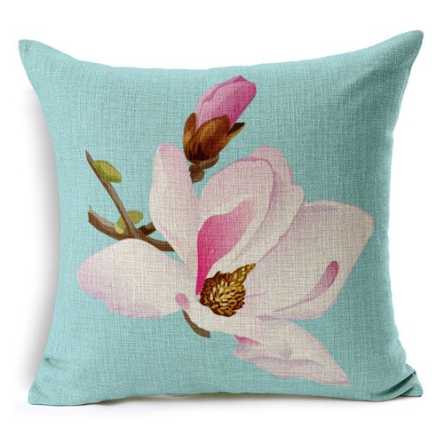 Retro Fresh Hand Painted Magnolia Linen Cotton Cushion Pertaining To Magnolia Sectional Sofas With Pillows (View 6 of 15)