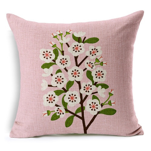 Retro Fresh Hand Painted Magnolia Linen Cotton Cushion With Magnolia Sectional Sofas With Pillows (View 4 of 15)