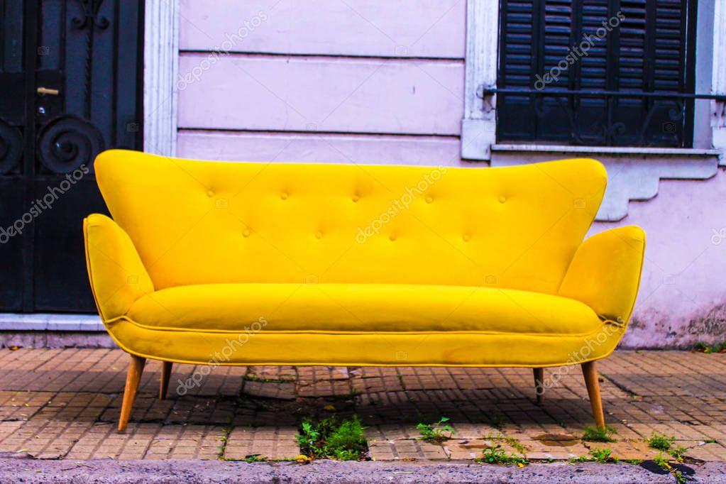 Retro Vintage Sofa In Gelb — Stockfoto © Sofiart #141749974 Inside Retro Sofas And Chairs (View 1 of 15)