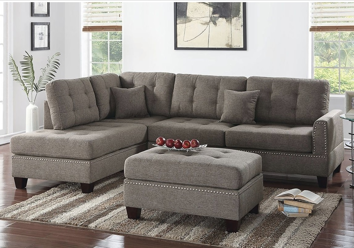 Reversible 3Pcs Sectional Sofa With 2 Accent Pillows F6504 For Clifton Reversible Sectional Sofas With Pillows (View 7 of 15)