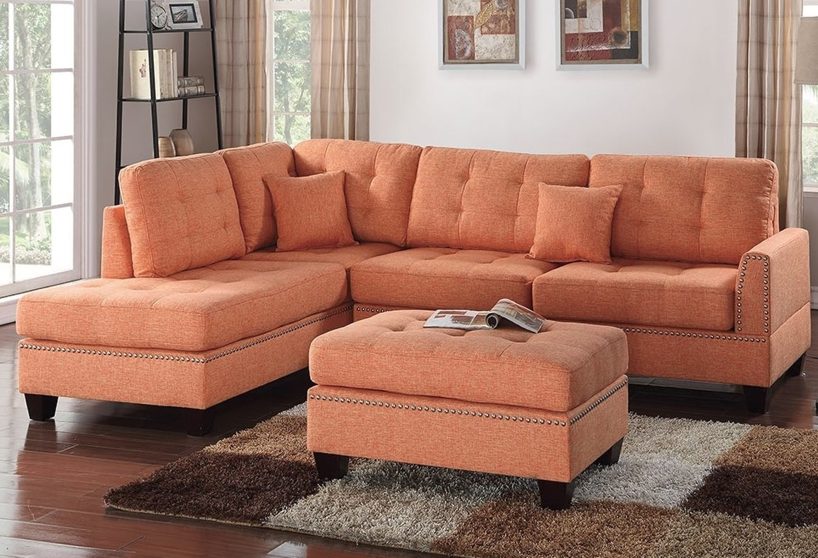 Reversible 3Pcs Sectional Sofa With 2 Accent Pillows F6506 Intended For Clifton Reversible Sectional Sofas With Pillows (View 6 of 15)