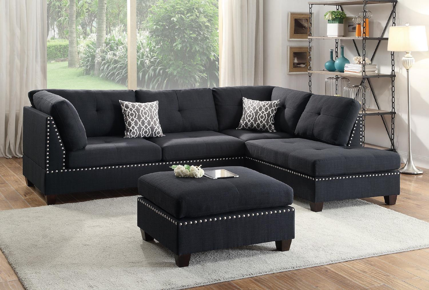Reversible Sectional Sofas Reversible Espresso Leather With Regard To Felton Modern Style Pullout Sleeper Sofas Black (View 6 of 15)