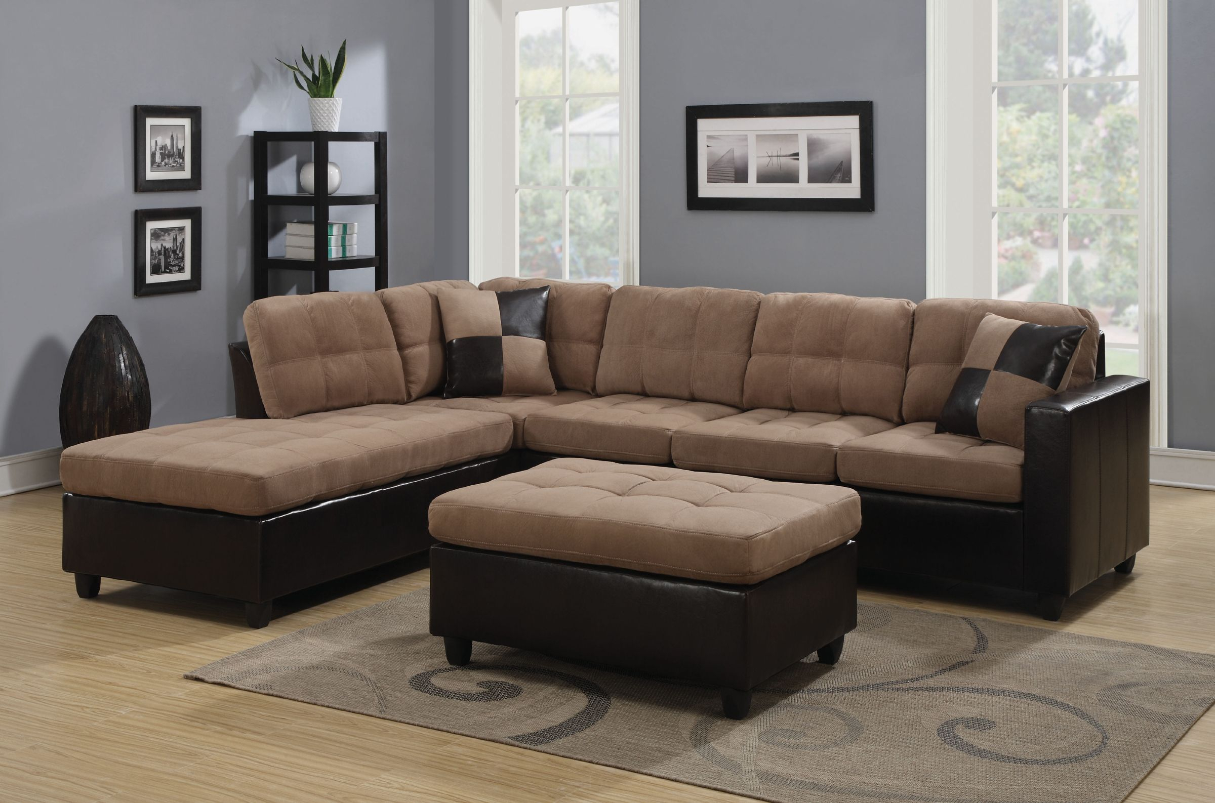 Reversible Tan Microfiber Sectional Sofa With Chaise Set Throughout Clifton Reversible Sectional Sofas With Pillows (View 5 of 15)