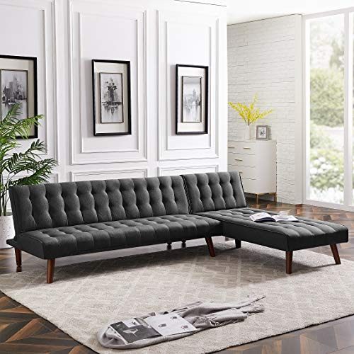 Rhomtree Reversible Section Sofa Couch Futon Sleeper Pertaining To Felton Modern Style Pullout Sleeper Sofas Black (View 4 of 15)