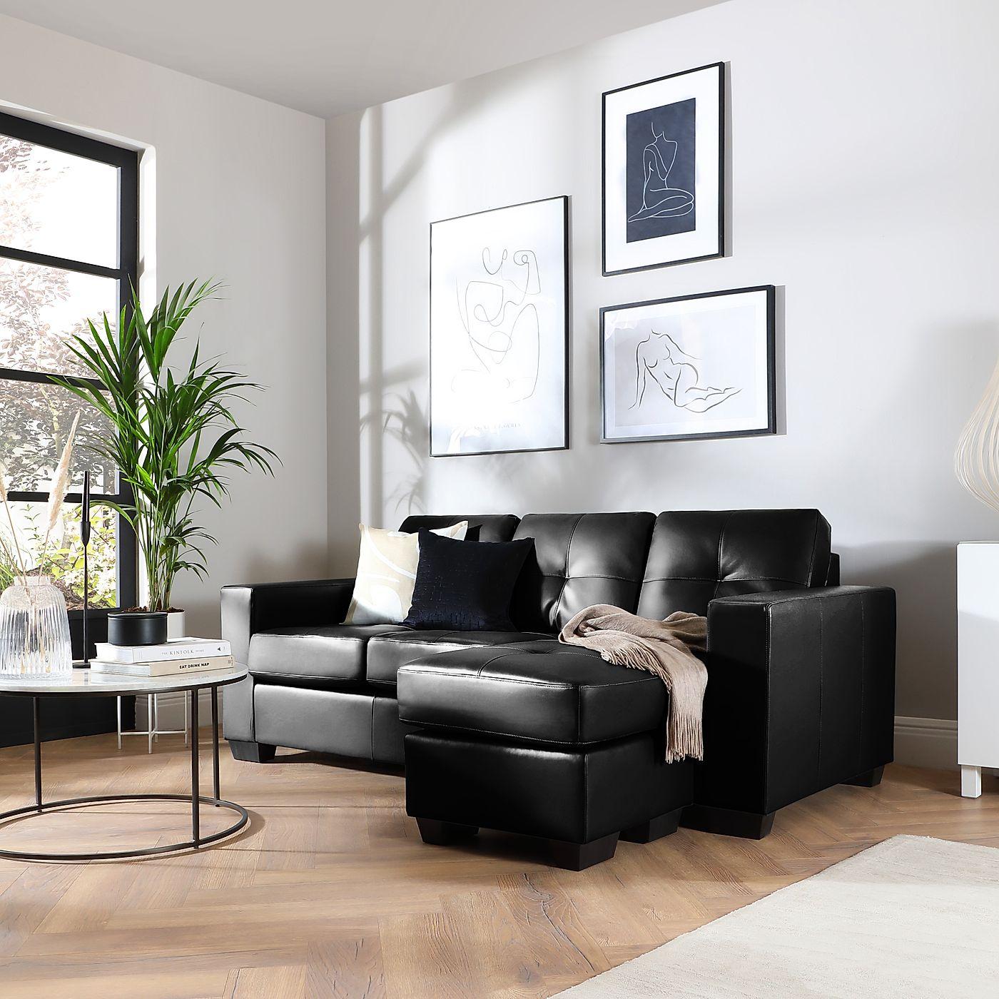 Rio Black Leather L Shape Corner Sofa   Furniture Choice In Leather Corner Sofas (View 2 of 15)
