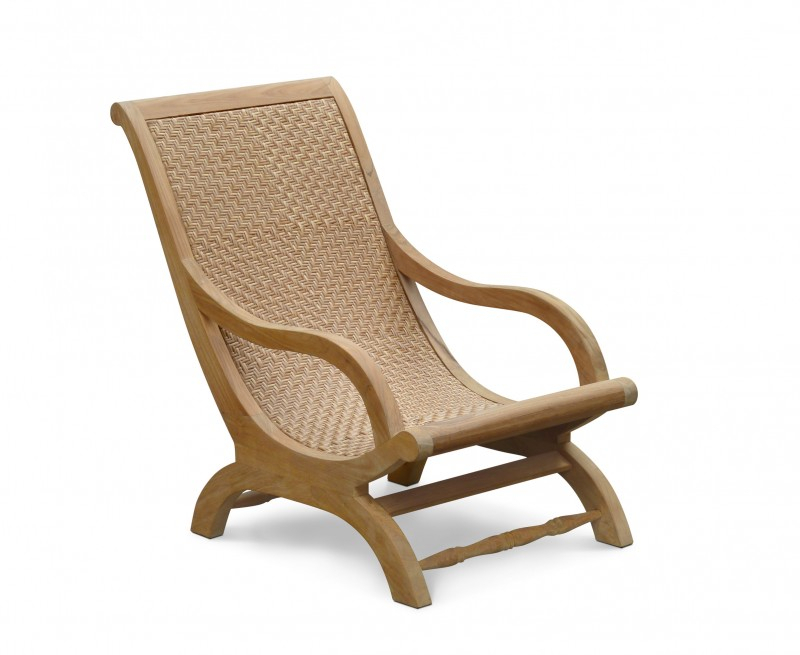 Riviera Outdoor Lounge Chair, Teak And Rattan Lazy Chair In Outdoor Sofas And Chairs (View 4 of 15)