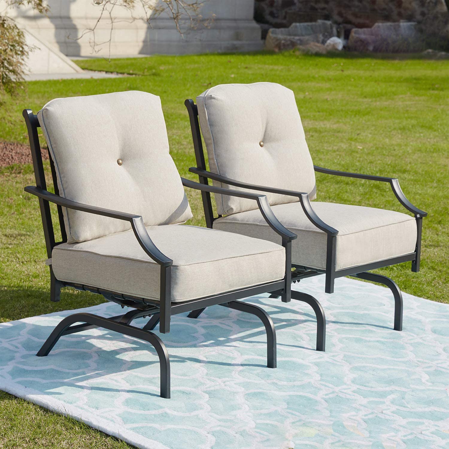 Rocking Patio Chairs Outdoor Metal Furniture Motion Spring With Regard To Rocking Sofa Chairs (View 8 of 15)