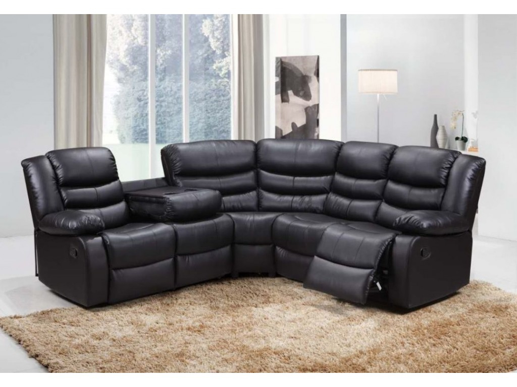 Roma Bonded Leather Corner Sofa Suite With Reclining Chairs Within Leather Corner Sofas (View 12 of 15)