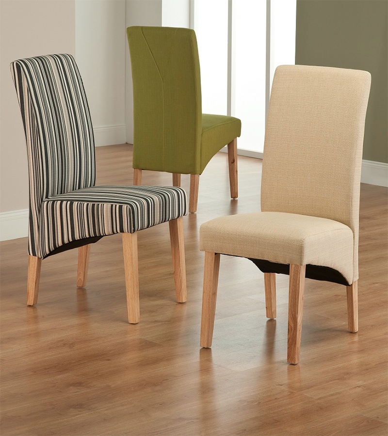 Roma Striped Fabric Dining Chair Within Striped Sofas And Chairs (View 6 of 15)