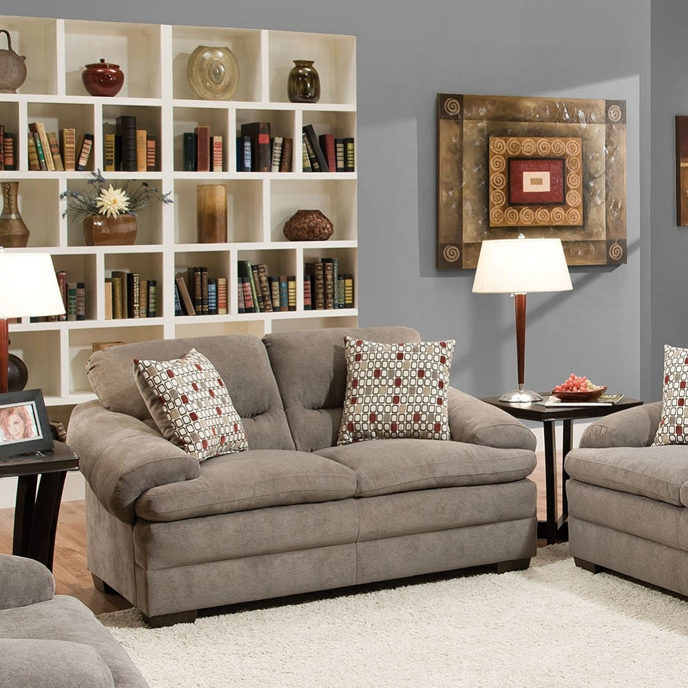Roselyn Miranda Shale 2 Pillows Loveseat With Debbie Coil Sectional Sofas (View 10 of 15)