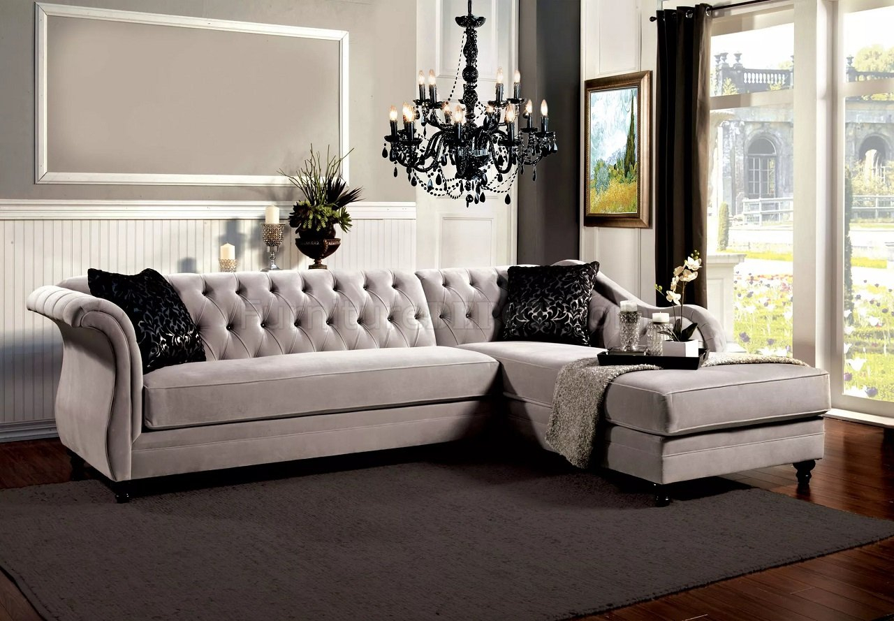 Rotterdam Sectional Sofa Sm2261 In Warm Gray Velvet Fabric With Regard To Sofas And Chairs (View 4 of 15)