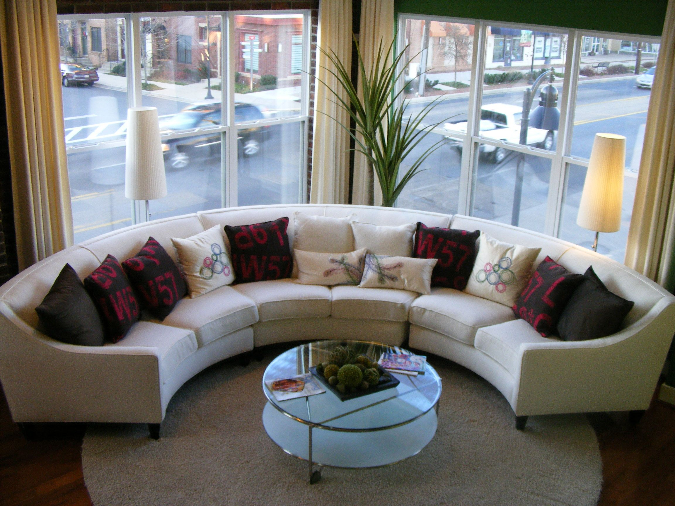 Round Sofas Furniture White Leather Sectional Sofa Fancy Pertaining To Circular Sofa Chairs (View 10 of 15)