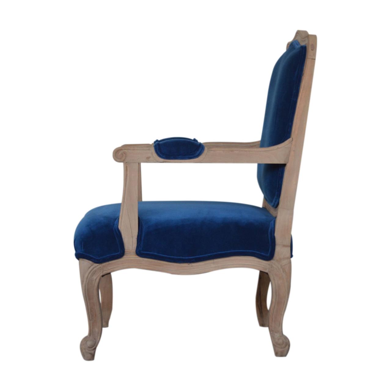 Royal Blue Velvet French Style Chair – Artisan Furniture For Artisan Blue Sofas (View 7 of 15)