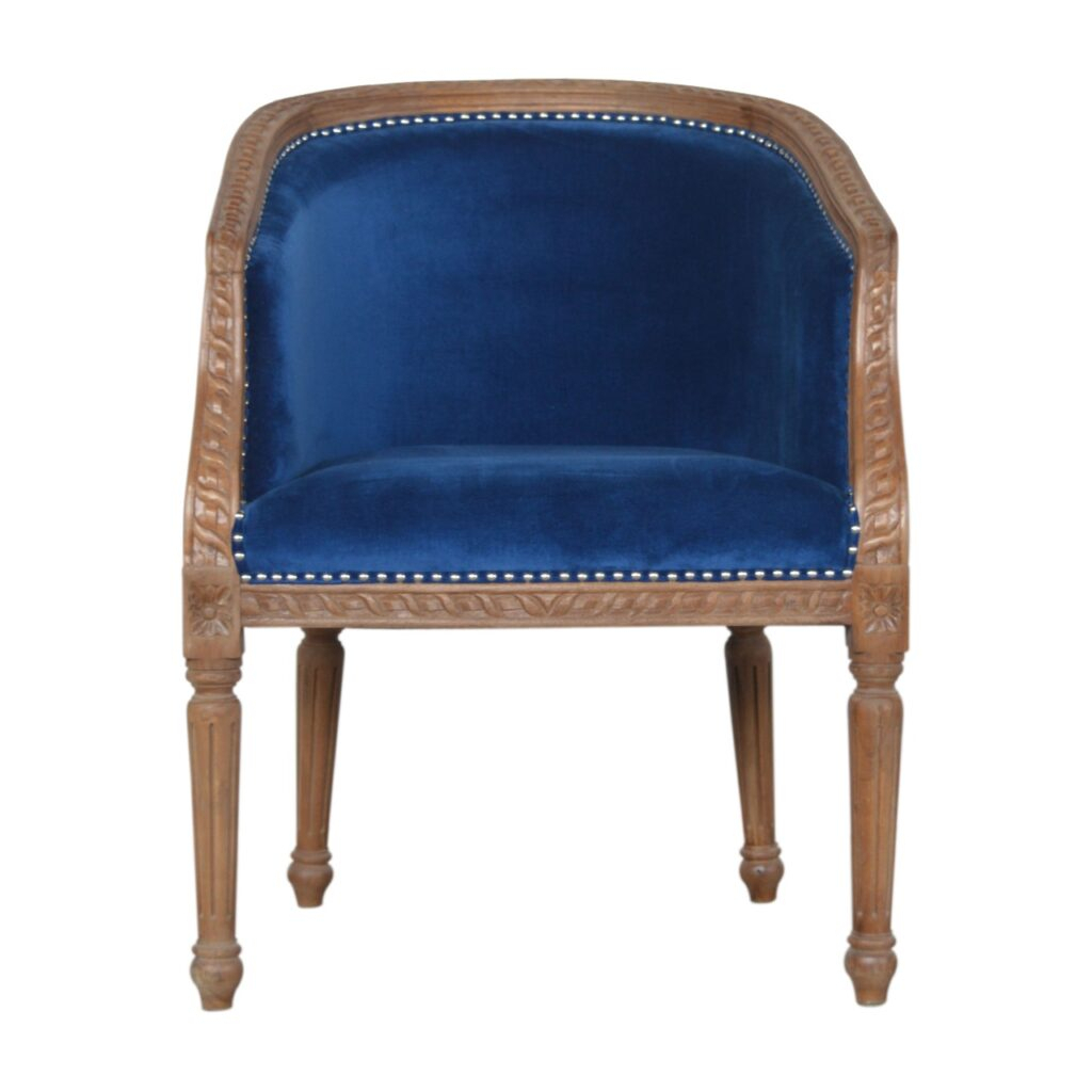 Royal Blue Velvet Occasional Chair – Artisan Furniture Inside Artisan Blue Sofas (View 15 of 15)