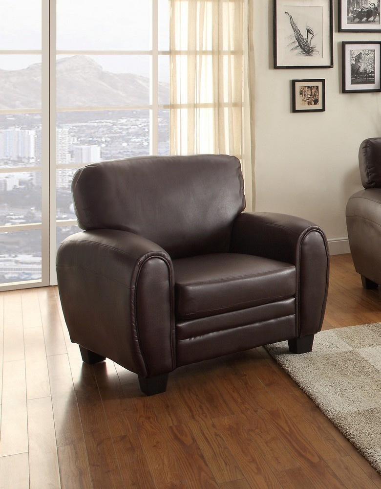 Rubin 3 Pc Dark Brown Bonded Leather Match Sofa Set With Regard To 3Pc Bonded Leather Upholstered Wooden Sectional Sofas Brown (View 2 of 15)
