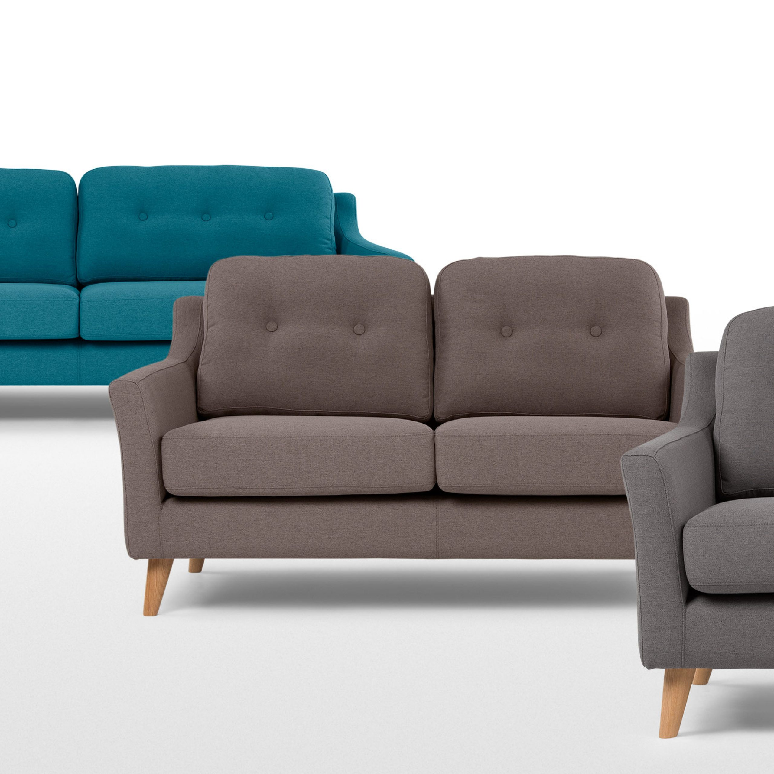 Rufus 2 Seater Sofa, Rhino Grey   Made With Regard To 2 Seater Sofas (View 11 of 15)