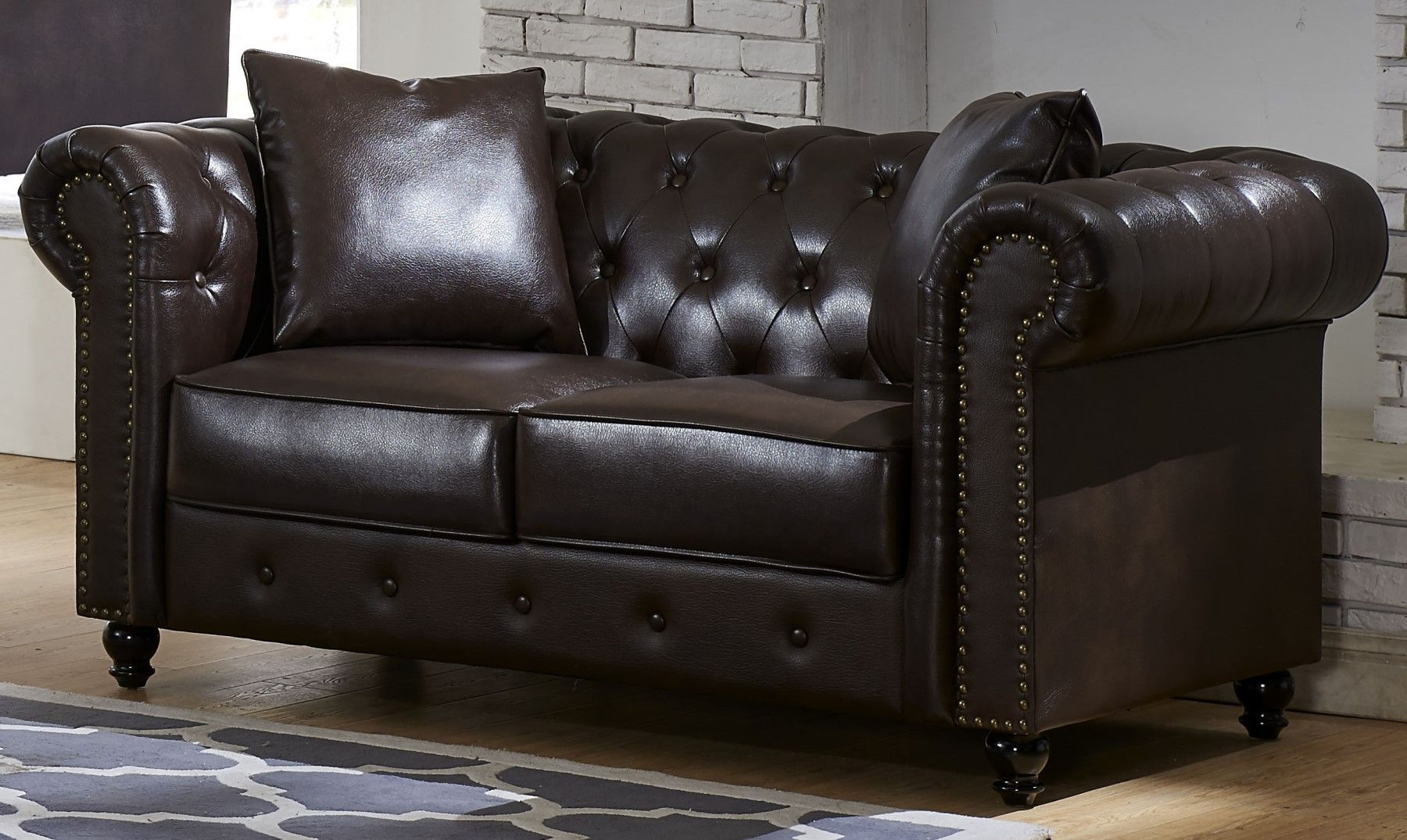 Salisbury Button Tufted Nailhead Chesterfield Sofa Intended For Leather Chesterfield Sofas (View 1 of 15)