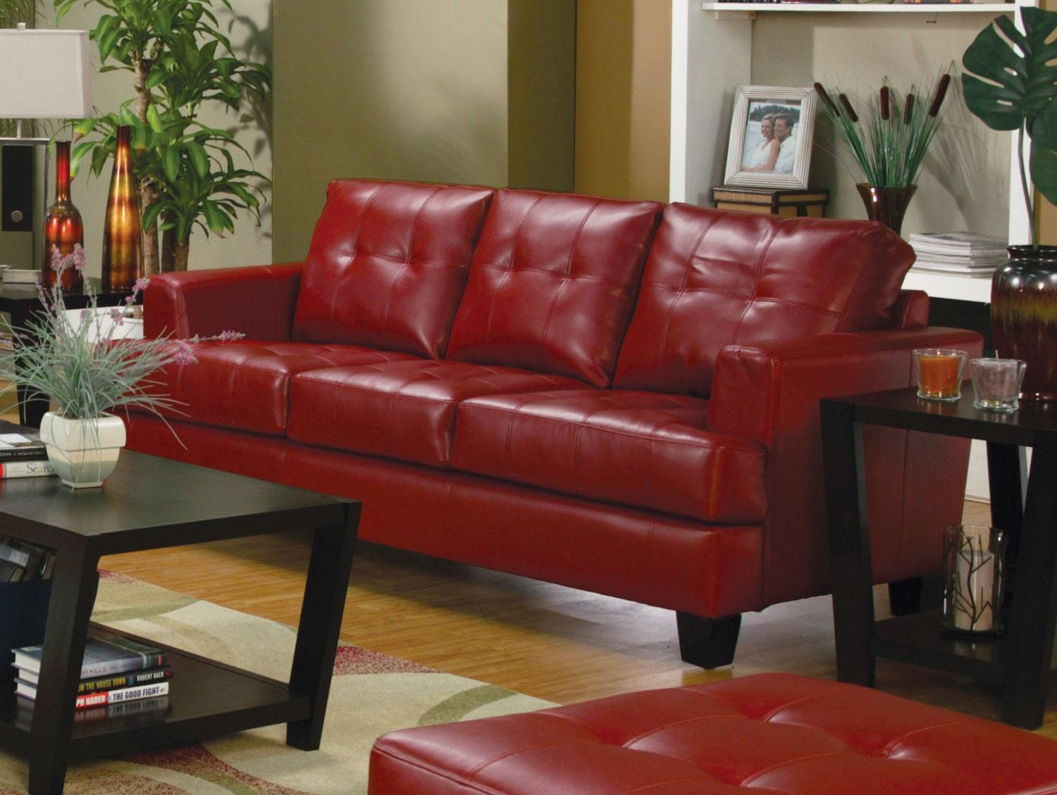 Samuel Red Leather Sofa – 501831 From Coaster (501831 Within Red Sofa Chairs (View 5 of 15)