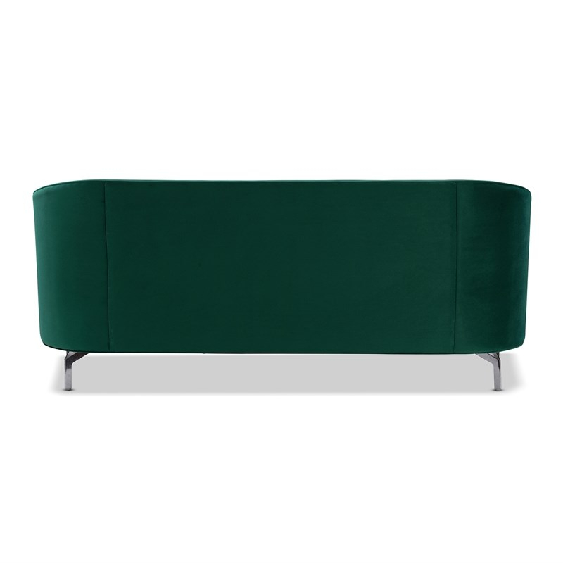 Sandy Wilson Home Annette Modern Sofa With Polished Metal Pertaining To Annette Navy Sofas (View 6 of 15)